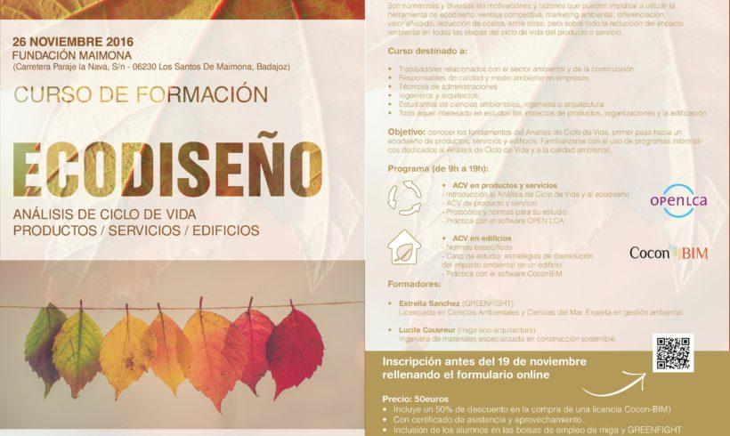 """Curso presencial """"Ecodiseño. ACV de productos, servicios y edificios"""""""